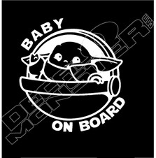 Baby Yoda Baby on Board3 Star Wars Decal Sticker