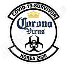 Korea 2020 Coronavirus Covid-19 Survivor Decal Sticker