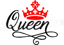 Queen Crown Wording Decal Sticker