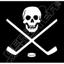 Skull & Crossed Hockey Sticks Decal Sticker