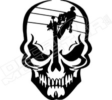 Skull Lineman Decal Sticker