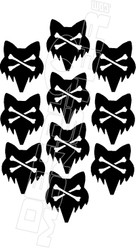 Fox Head Crossbones Decal Sticker