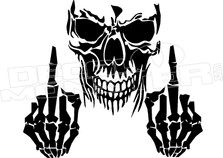 Skull with Middle Fingers Decal Sticker