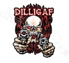 DILLIGAF Skull with Guns Decal Sticker