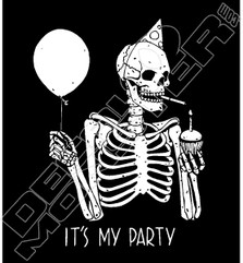 It's My Party Skeleton Decal Sticker