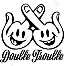 Double Trouble Middle Fingers Decal Sticker