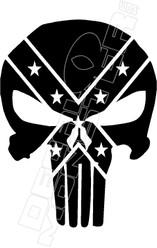 Confederate Punisher Skull Decal Sticker