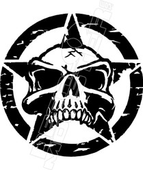 Army Star Skull Jeep Decal Sticker