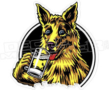Dog Drinking Beer Funny Decal Stcker