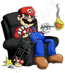 Smoking High Mario Weed Decal Sticker