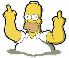 Homer Middle Fingers F U Simpsons Decal Sticker