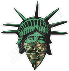 Masked Covid Statue of Liberty Decal Sticker