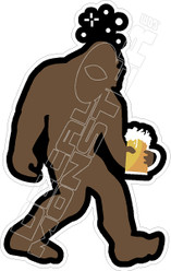 Big Foot with Beer Decal Sticker