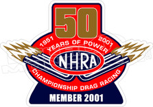 NHRA 50th Anniversary Decal Sticker