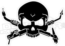 Welder Torch Skull Cross Bones Decal