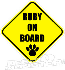Dog Name On Board Pet Decal DM