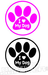 I Love My Dog Paws Pet Decal DM