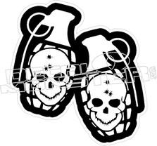 Grenade Skull Bullet Holes Decal Sticker