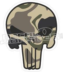 Camo Punisher Skull Decal Sticker