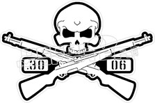 Skull Crossbones Rifle 30 06 Decal Sticker