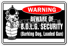 Warning Barking Dog Loaded Gun Decal Sticker