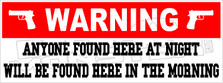 Warning Anyone Found Here At Night Decal Sticker