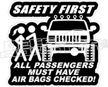 Safety First 4x4 Air Bags Checked Decal Sticker