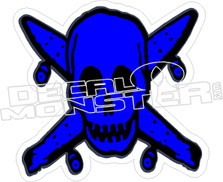Skull Crossbones Skateboard Decal Sticker