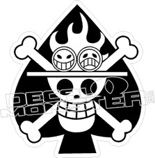 Spade Skull and Crossbones Decal Sticker