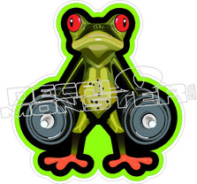 Frog Weight Lifter Decal Sticker