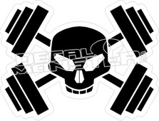 Barbell Skull Cross Bones Decal Sticker