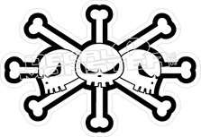 Skull Crossbones Triple Decal Sticker