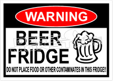 Warning Beer Fridge No Food Decal Sticker