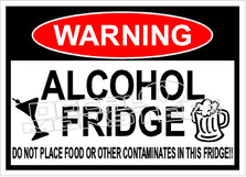 Warning Alcohol Fridge No Food Decal Sticker