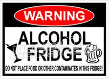 Warning Alcohol Fridge No Food Decal Sticker