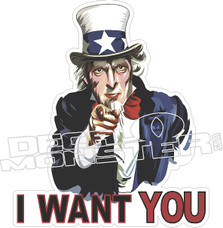I Want You Uncle Sam Decal Sticker