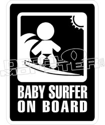 Baby Surfer On Board Decal Sticker