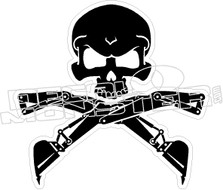Backhoe Skull Cross Bones Decal Sticker