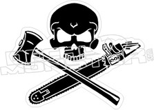 Lumberjack Chainsaw Skull Decal Sticker