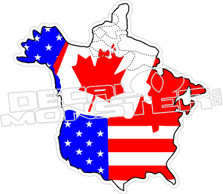 Canada US North America Flag Decal Sticker