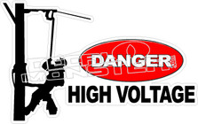 Danger High Voltage Lineman 1 Decal Sticker