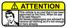 Fonzie Warning Decal Sticker