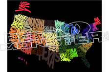 USA State Map Decal Sticker