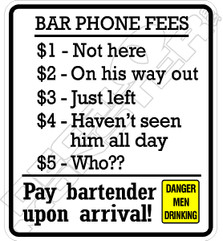 Bar Phone Fees 51 Decal Sticker