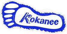 Kokanee Beer Sasquatch Foot Decal Sticker