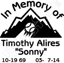 In Memory of Baseball Player Decal Sticker