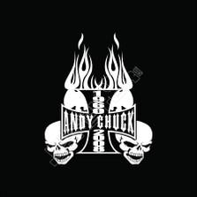 In Memory Of Biker Flames Skull Cross Decal Sticker