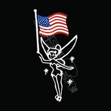 Tinkerbell USA Flag Decal Sticker