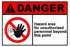 Danger 125H - hazard area no unauthorized personnel