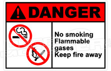 Danger 238H - no smoking flammable gases keep fire away